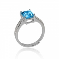 Blue Baguette Natural Topaz Cubic Zirconia 925 Sterling Silver Ring